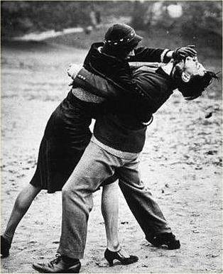 woman fighting back