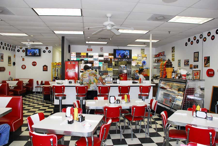 Grand opening at doo wop diner for Diner interior