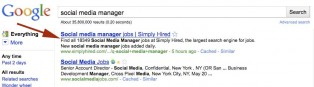 Google Search Results on Social Media Jobs