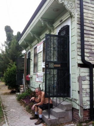 Doug Ganyo resting in front of 'Our' Project in New Orleans