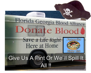 Fernandina Pirate Club Blood Drive June 18th