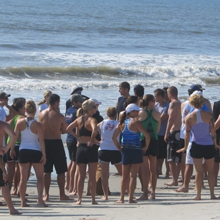 Athletes at Main Beach Triathlon July 16th