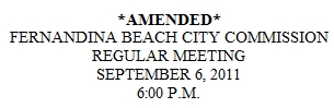 September 6th Fernandina Beach Commissioner Meeting