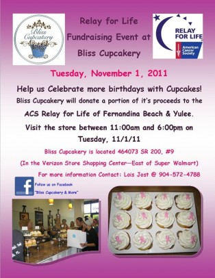 Relay for Life Fundraiser at Bliss Cupcakery