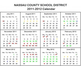 Nassau County's Holiday School Schedule 2011