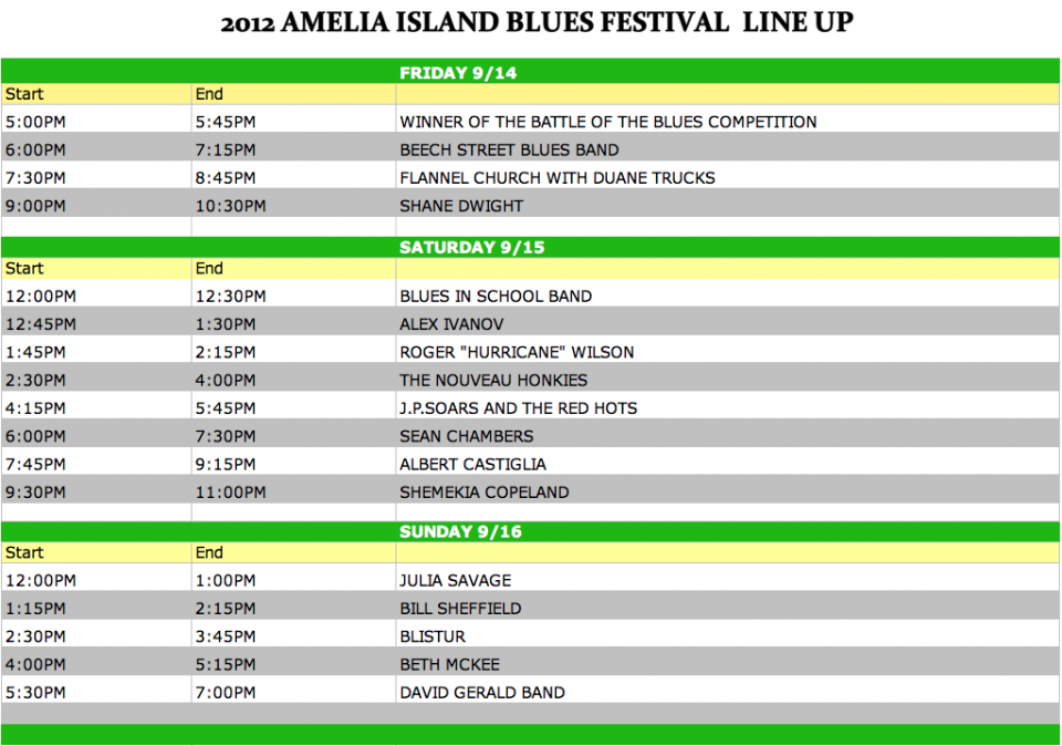 2012 Amelia Island Blues Fest Talent Line Up