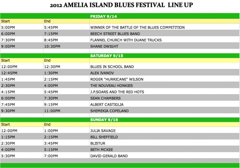 2012 Amelia Island Blues Fest Talent Line Up