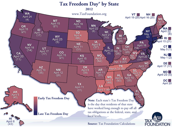 tax freedom day map per state