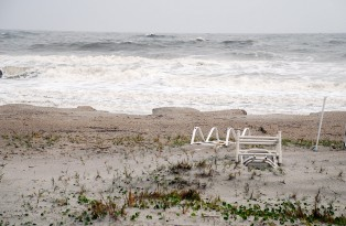 Beach erosion as a result of TS Beryl
