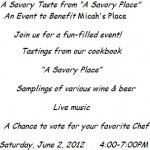 Savory Taste Benefits Micah's Place on June 2nd