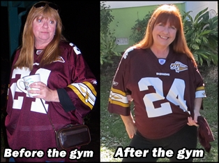 Judie, before and after joining the gym
