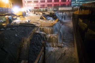Storm Surge floods Ground Zero in downtown Manhattan