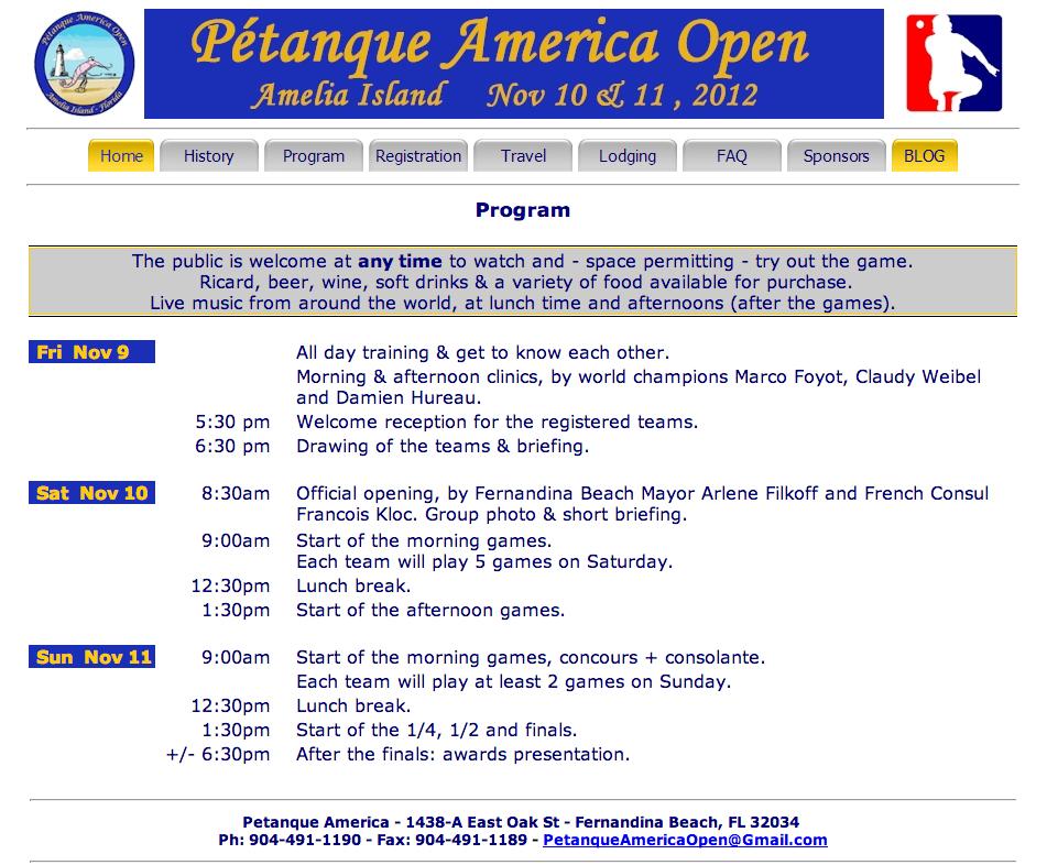 Amelia Island Petanque tournament 2012