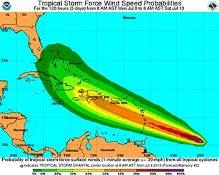 Tropical Storm Chantal in our Long Term Forecast