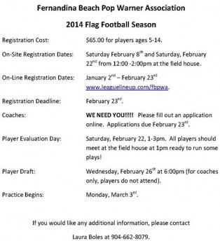 2014 Pop Warner Flag Football Season