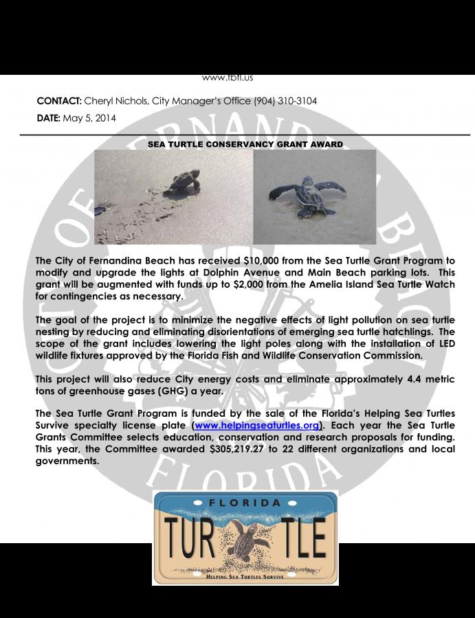 Press Release_Sea Turtle Conservancy Grant 050514
