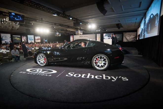 2007 Ferrari 599 GTB crosses the auction podium