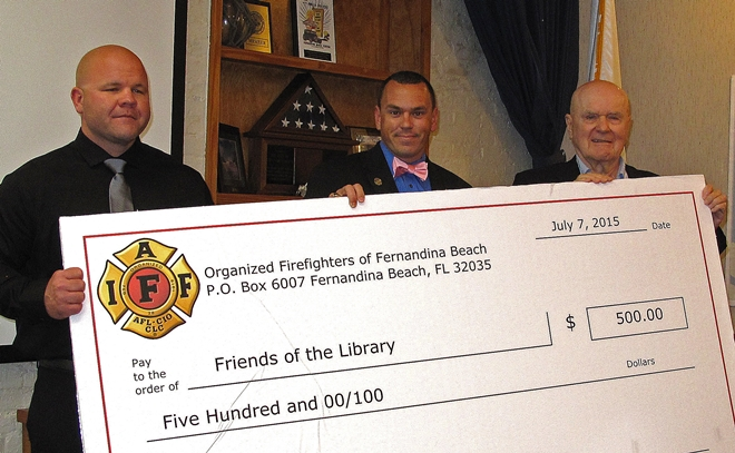 Fernandina Firefighters Donate to Fernandina's Library