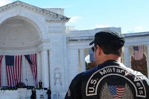 veteran and flag